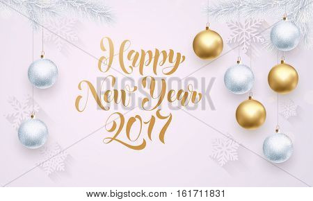 Golden decoration ornament with Christmas ball on vip white background with snowflake pattern. Premium luxury snow for holiday greeting card. Gold calligraphy lettering Happy New Year 2017