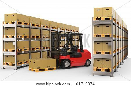 Warehouse with forklift truck on white background 3D rendering