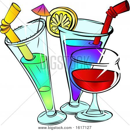 Three Glasses With Cocktail