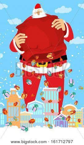 Santa Claus And Bag Rain Gifts In City. Christmas In Town. Snow And Buildings. High Santa And Big Re