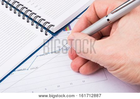 Male Hand With Pen On Printout