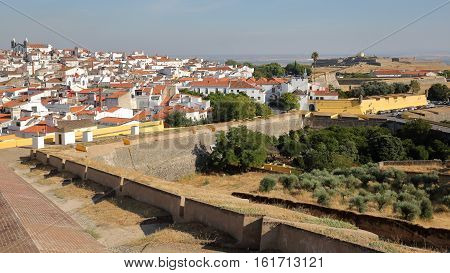 ELVAS, PORTUGAL: View of the Old Town from the city walls with Forte de Santa Luzia in the background