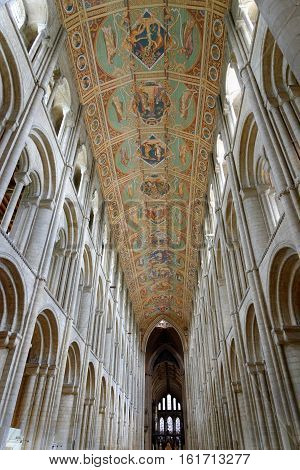 ELY, ENGLAND - JUNE 28, 2016: The Nave of Ely Cathedral. The ceiling tells the story of the ancestry of Jesus - Adam Abraham David Mary.