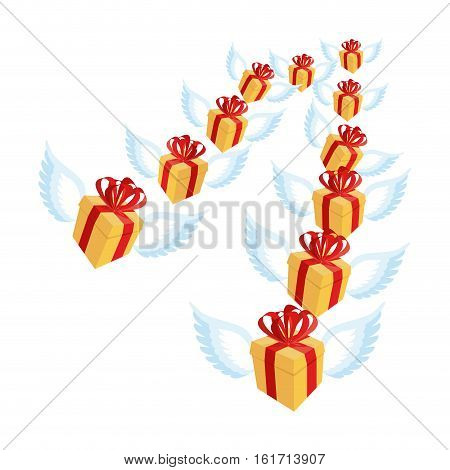 Gift With Wings Flying Flock. Flying Gift Box With Red Bow And Ribbon.