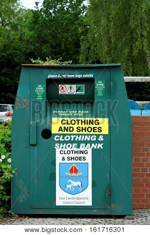 ELY, ENGLAND - JUNE 28, 2016: Clothing and Shoe recycling collection container.