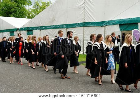DURHAM, ENGLAND - JUNE 30 2016: Congregation (Graduation) Ceremony at the University of Durham celebrating the conferring of degrees.