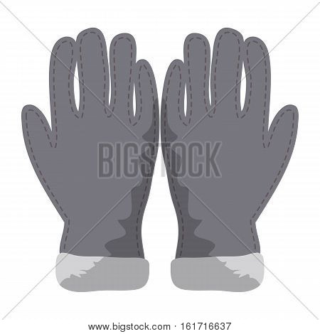 Winter Gloves Icon Symbol Design. Vector Gray Wool Gloves Illustration Isolated On White Background.
