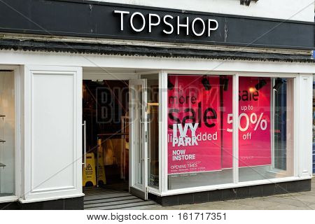 DURHAM, ENGLAND, JUNE 30 2016: Topshop store on Silver street. Topshop is a British fashion retailer with more than 500 shops worldwide.