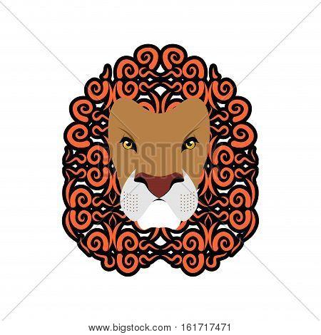 Lion Abstract Emblem. Mane Ornament. Leo Tattoo. Wild Animal