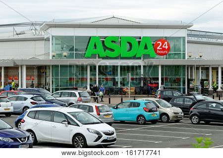 HARTLEPOOL, ENGLAND - JUNE 30, 2016: Asda Superstore exterior. Asda is the UK's second largest chain by market share after Tesco.