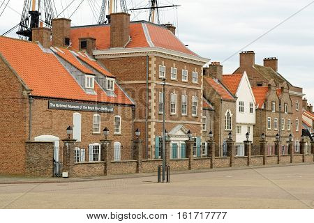 HARTLEPOOL, UK - JUNE 30, 2016: The National Museum of the Royal Navy - NMRN in the North of England. It is set in an authentically-created historic quayside of the 1800s.