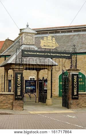 HARTLEPOOL, UK - JUNE 30, 2016: The entrance of the National Museum of the Royal Navy - NMRN in the North of England. It is set in an authentically-created historic quayside of the 1800s.