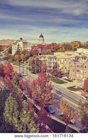 Vintage Toned Salt Lake City Downtown In Autumn, Usa.