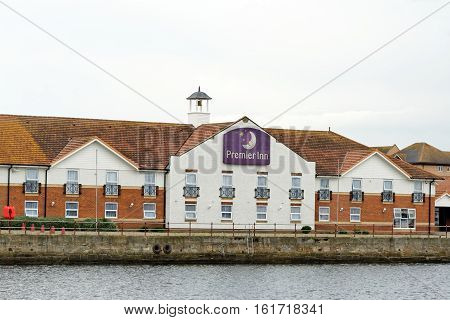 HARTLEPOOL, UK - JUNE 30 2016: Premier Inn a British exclusive hotel chain and the UK's largest hotel brand with more than 50000 rooms and 700 hotels.