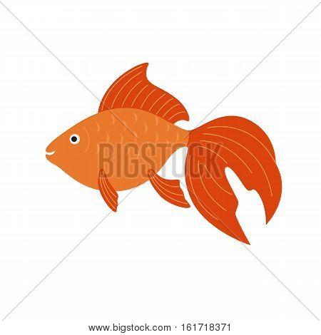 Goldfish. Vector aquarium fish illustration. Colorful cartoon flat aquarium fish icon for your design.