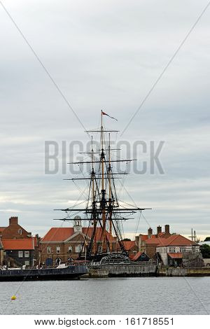 HARTLEPOOL, UK - JUNE 30 2016: The National Museum of the Royal Navy - NMRN in the North of England. HMS Trincomalee the oldest warship afloat in the world berthed at Jackson Dock.