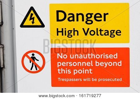 Danger High-Voltage Label on a train track