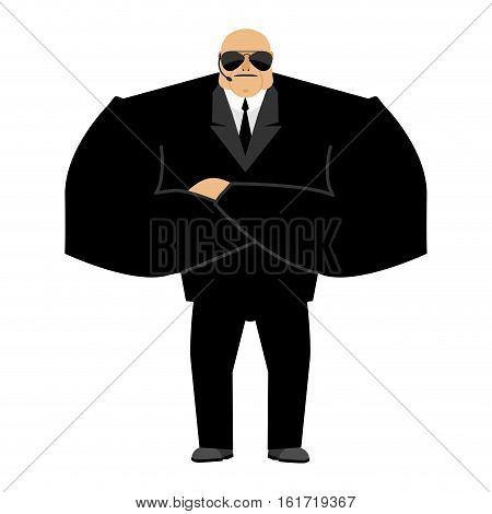 Bodyguard Isolated. Security Guard Face Control Of Nightclub. Black Suit And Hands-free. Protection