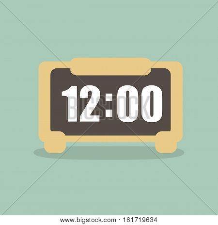 Clock digital alarm time design flat icon vector stock
