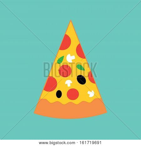 Pizza ingredients food flat icon design vector stock