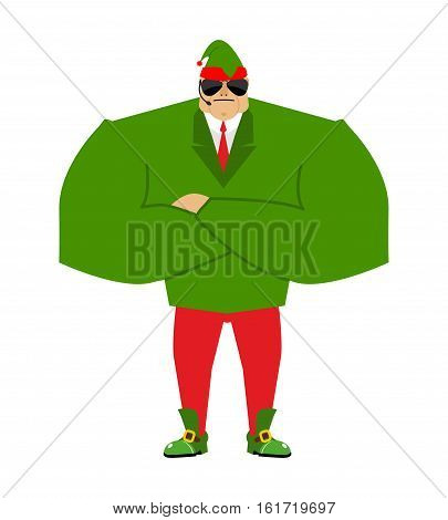 Santa Elf Bodyguards. Christmas Guards. Protecting New Year. Defenders Of Gifts For Children. Santas