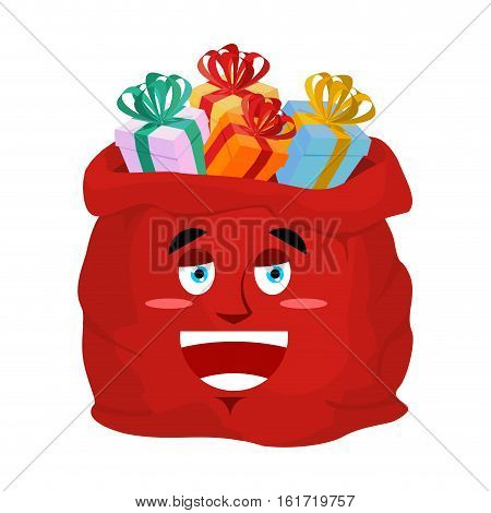 Santa Bag Laugh Emoji. Christmas Sack With Gifts Sorrowful Emotion.red Sackful Of Gift Isolated