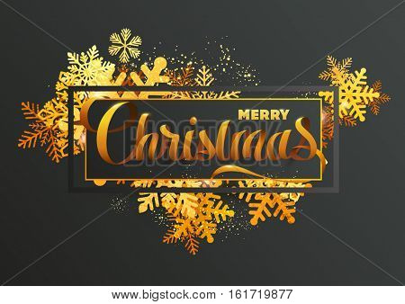Gold glittering Christmas greeting card with snowflakes and calligraphic inscription