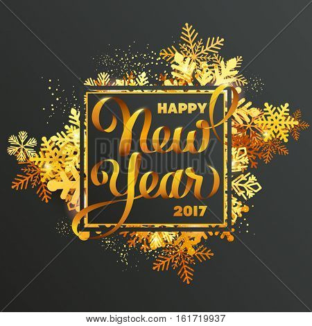 Gold glittering New Year greeting card with snowflakes and calligraphic inscription