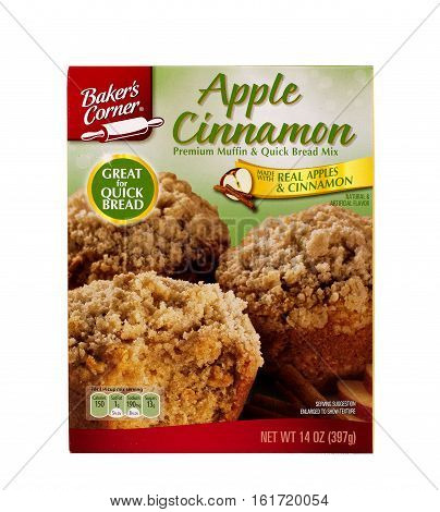 RIVER FALLS,WISCONSIN-DECEMBER 15,2016: A box of Bakers Corner apple cinnamon muffin and quick bread mix.