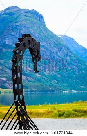 Old Viking Boat In Norwegian Nature