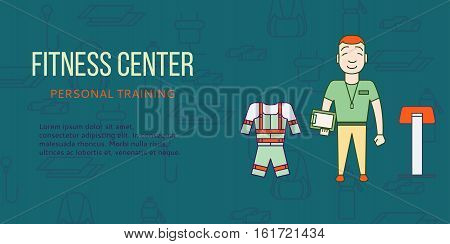 Ems training web banner or flyer in flat style. Electric muscular stimulating fitness concept. Personal trainer with equipment. Sports company vector illustration