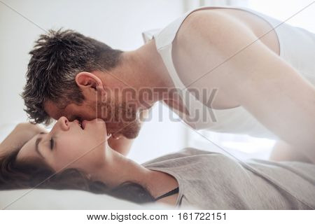 Passionate And Romantic Couple Enjoying Foreplay