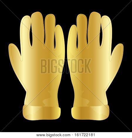 Winter Gloves Icon Symbol Design. Vector  Golden Wool Gloves Illustration Isolated On Black Backgrou
