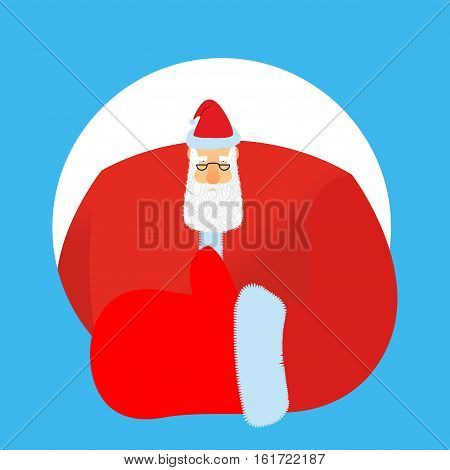 Santa Claus Thumbs Up. Gesture Of Hand Is All Right. Success Of Christmas. Good Luck In New Year. Xm