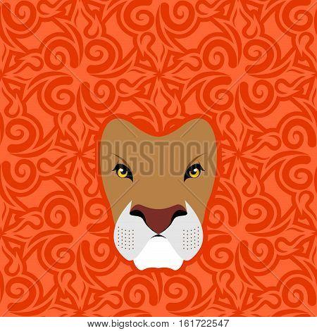 Lion Abstract Emblem. Mane Oriental Ornament. Wild Animal