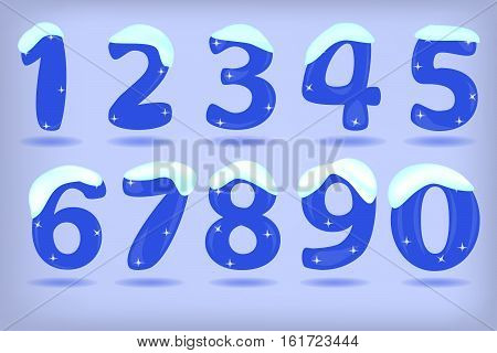 Numbers from 0 to 9 under snow isolated in blue background. Eps10.