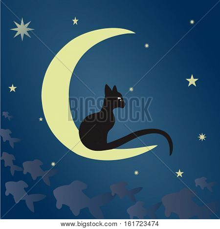 A black cat sits on the moon and catches fish among the starry sky. Vector illustration suitable for illustrating mysteries, covert, unusual and enigmatic stories, fantasy, fairy tales, etc. Square.