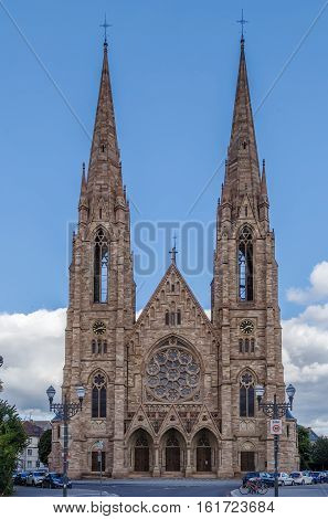 The St. Paul's Church of Strasbourg is a major Gothic Revival architecture building and one of the landmarks of the city of Strasbourg Alsace France.