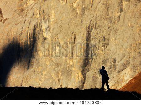 Trekker in the Dolomites, Italy, Europe