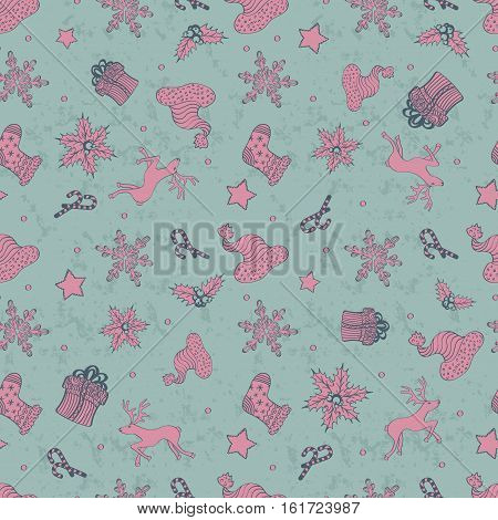 Abstract Holiday Christmas Cute Design Seamless Pattern With Gift Santa's Hat Stars And Snowflakes