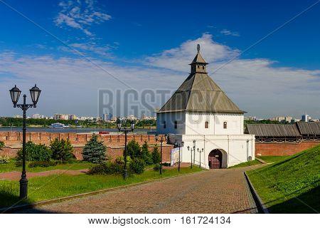 Beautiful tower of the Kazan Kremlin, Kazan city, Tatarstan, Russia