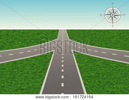 The illustration of road junction on the highway with a compass. Vector is perfect to illustrate the travels, adventures, logistics, navigation, the choice places in life, etc. Horizontal location.