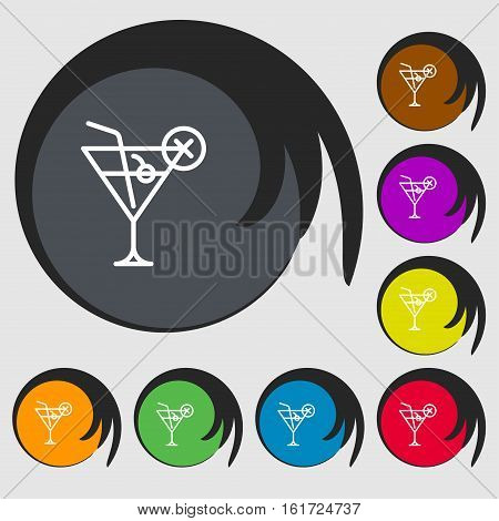 Martini Glass Icon Sign. Symbols On Eight Colored Buttons. Vector