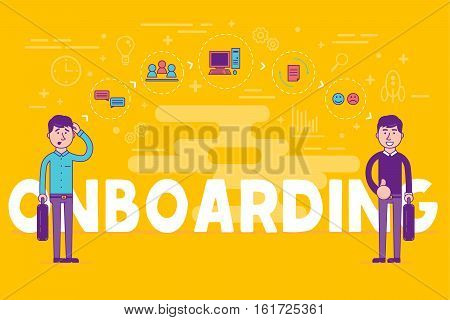 Employees onboarding concept. HR managers hiring new workers for job. Recruiting staff or personnel in their business company. Organizational socialization vector illustration.