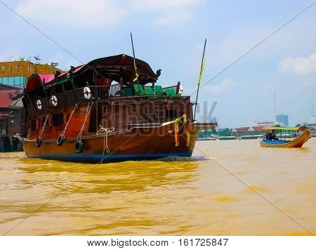 The river Chao Praya and ship or water public transport in Bangkok, Thailand
