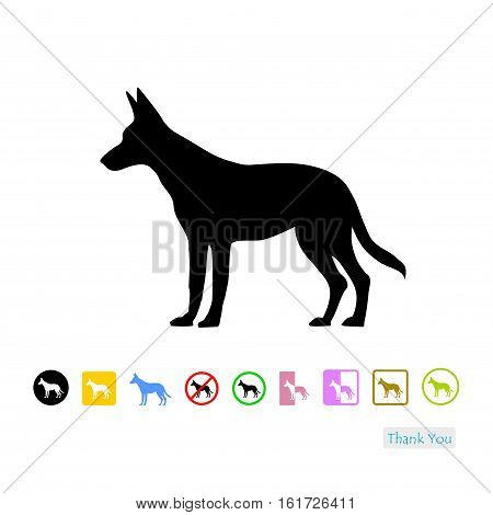 Dog symbol, dog icon isolated on white background
