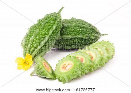 green momordica or karela isolated on white background.