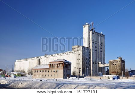 Agriculture in Russia. The elevator in the winter.