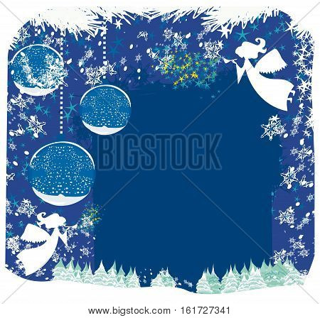 Abstract card with angels and Christmas trees , vector illustration