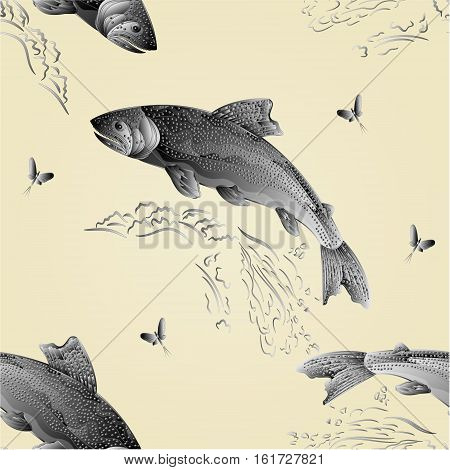 Seamless texture Trout jumps in stream salmon-predatory fish as wrought metal vintage vector illustration